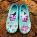 Nunofelt ovčí vlna, papuče handmade