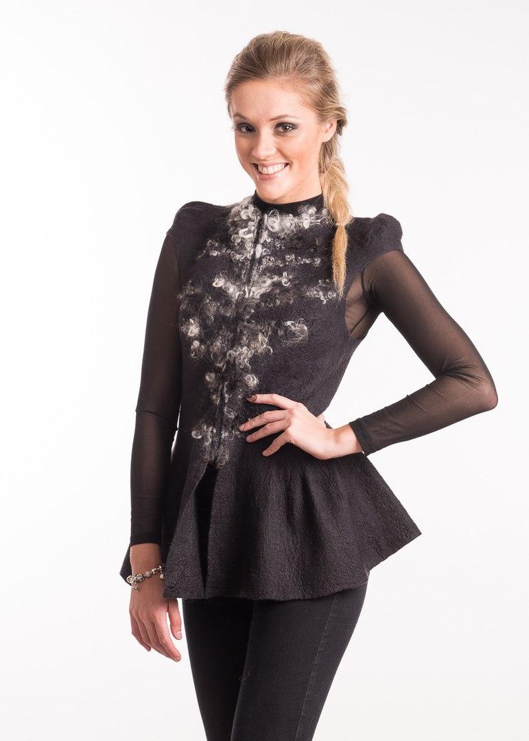 Kabátek, ozdobní rukávy,Nunofelt ovčí vlna, Katerina Korshun, handmade