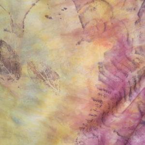 hedvábní šála, ecoprint